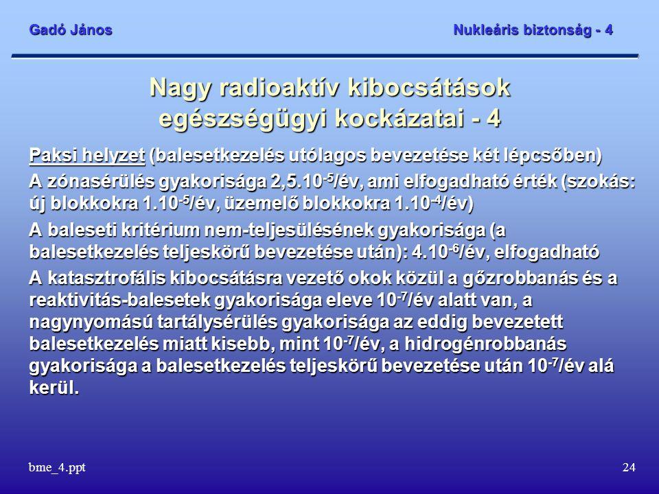Gadó János Nukleáris biztonság - 4 bme_4.ppt24 Nagy radioaktív kibocsátások egészségügyi kockázatai - 4 Paksi helyzet (balesetkezelés utólagos bevezetése két lépcsőben) A zónasérülés gyakorisága 2,5.10 -5 /év, ami elfogadható érték (szokás: új blokkokra 1.10 -5 /év, üzemelő blokkokra 1.10 -4 /év) A baleseti kritérium nem-teljesülésének gyakorisága (a balesetkezelés teljeskörű bevezetése után): 4.10 -6 /év, elfogadható A katasztrofális kibocsátásra vezető okok közül a gőzrobbanás és a reaktivitás-balesetek gyakorisága eleve 10 -7 /év alatt van, a nagynyomású tartálysérülés gyakorisága az eddig bevezetett balesetkezelés miatt kisebb, mint 10 -7 /év, a hidrogénrobbanás gyakorisága a balesetkezelés teljeskörű bevezetése után 10 -7 /év alá kerül.