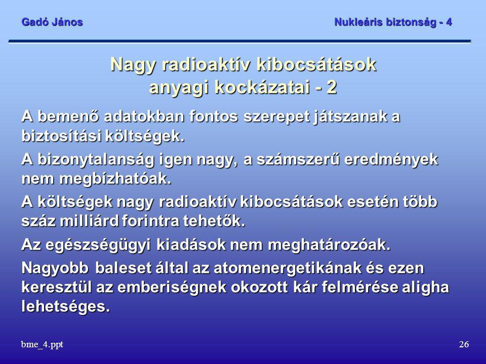 Gadó János Nukleáris biztonság - 4 bme_4.ppt26 Nagy radioaktív kibocsátások anyagi kockázatai - 2 A bemenő adatokban fontos szerepet játszanak a bizto