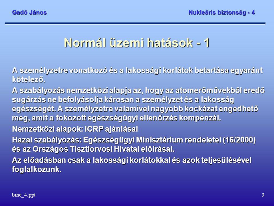 Gadó János Nukleáris biztonság - 4 bme_4.ppt3 Normál üzemi hatások - 1 A személyzetre vonatkozó és a lakossági korlátok betartása egyaránt kötelező. A
