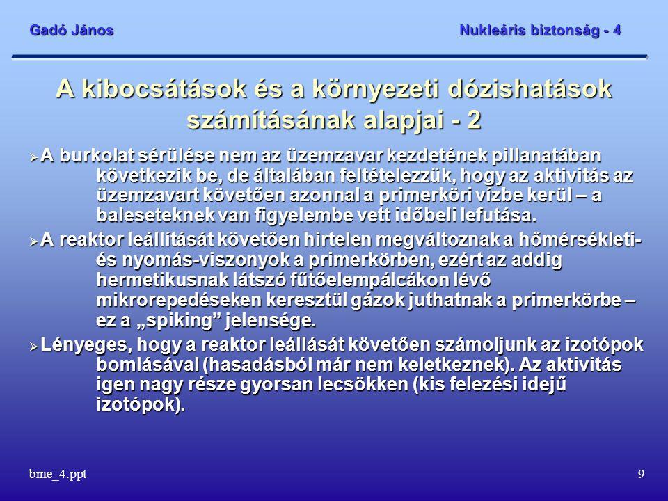 Gadó János Nukleáris biztonság - 4 bme_4.ppt9 A kibocsátások és a környezeti dózishatások számításának alapjai - 2  A burkolat sérülése nem az üzemza