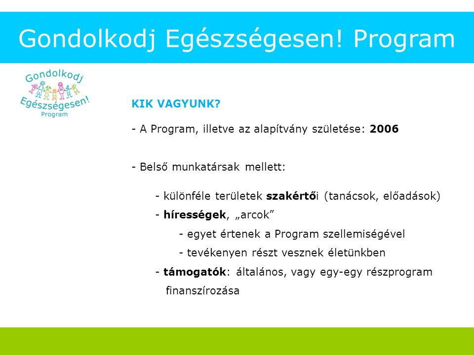 Gondolkodj Egészségesen! Program KIK VAGYUNK? - A Program, illetve az alapítvány születése: 2006 - Belső munkatársak mellett: - különféle területek sz
