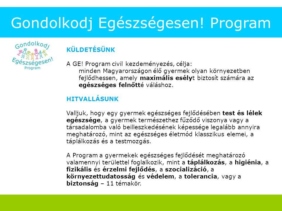 Gondolkodj Egészségesen! Program KÜLDETÉSÜNK A GE! Program civil kezdeményezés, célja: minden Magyarországon élő gyermek olyan környezetben fejlődhess