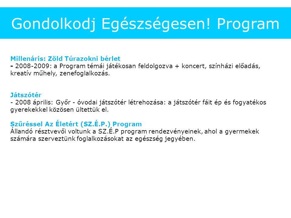 Gondolkodj Egészségesen! Program Millenáris: Zöld Túrazokni bérlet - 2008-2009: a Program témái játékosan feldolgozva + koncert, színházi előadás, kre