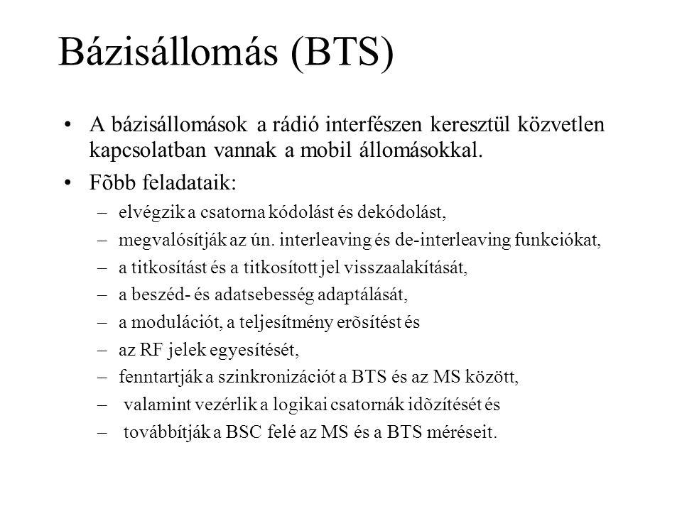 Bázisállomás (BTS) •A bázisállomások a rádió interfészen keresztül közvetlen kapcsolatban vannak a mobil állomásokkal. •Fõbb feladataik: –elvégzik a c