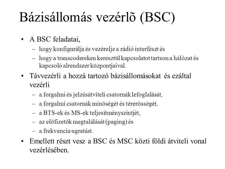 Bázisállomás vezérlõ (BSC) •A BSC feladatai, –hogy konfigurálja és vezérelje a rádió interfészt és –hogy a transcodereken keresztül kapcsolatot tartson a hálózat és kapcsoló alrendszer központjaival.