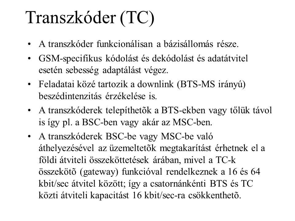 Transzkóder (TC) •A transzkóder funkcionálisan a bázisállomás része. •GSM-specifikus kódolást és dekódolást és adatátvitel esetén sebesség adaptálást