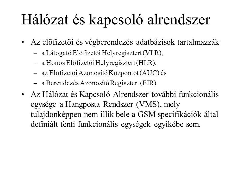Hálózat és kapcsoló alrendszer •Az elõfizetõi és végberendezés adatbázisok tartalmazzák –a Látogató Elõfizetõi Helyregisztert (VLR), –a Honos Elõfizetõi Helyregisztert (HLR), –az Elõfizetõi Azonosító Központot (AUC) és –a Berendezés Azonosító Regisztert (EIR).