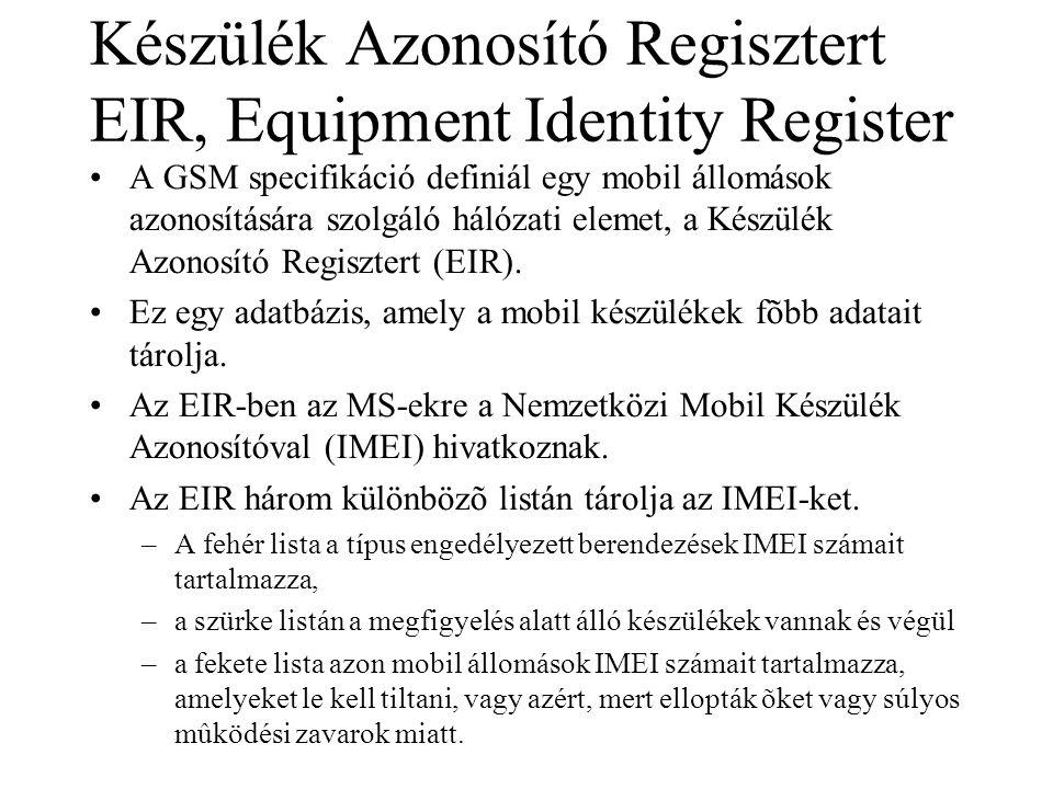 Készülék Azonosító Regisztert EIR, Equipment Identity Register •A GSM specifikáció definiál egy mobil állomások azonosítására szolgáló hálózati elemet, a Készülék Azonosító Regisztert (EIR).