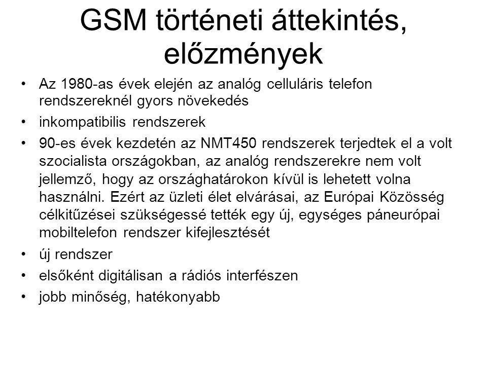GSM történeti áttekintés, előzmények •Az 1980-as évek elején az analóg celluláris telefon rendszereknél gyors növekedés •inkompatibilis rendszerek •90-es évek kezdetén az NMT450 rendszerek terjedtek el a volt szocialista országokban, az analóg rendszerekre nem volt jellemző, hogy az országhatárokon kívül is lehetett volna használni.