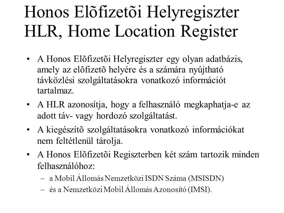Honos Elõfizetõi Helyregiszter HLR, Home Location Register •A Honos Elõfizetõi Helyregiszter egy olyan adatbázis, amely az elõfizetõ helyére és a szám