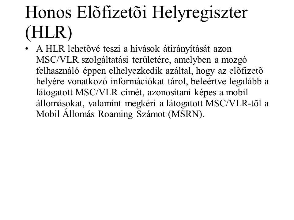 Honos Elõfizetõi Helyregiszter (HLR) •A HLR lehetõvé teszi a hívások átirányítását azon MSC/VLR szolgáltatási területére, amelyben a mozgó felhasználó éppen elhelyezkedik azáltal, hogy az elõfizetõ helyére vonatkozó információkat tárol, beleértve legalább a látogatott MSC/VLR címét, azonosítani képes a mobil állomásokat, valamint megkéri a látogatott MSC/VLR-tõl a Mobil Állomás Roaming Számot (MSRN).