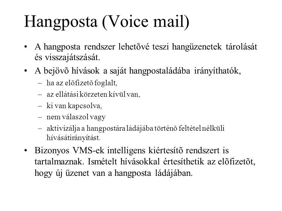 Hangposta (Voice mail) •A hangposta rendszer lehetõvé teszi hangüzenetek tárolását és visszajátszását. •A bejövõ hívások a saját hangpostaládába irány