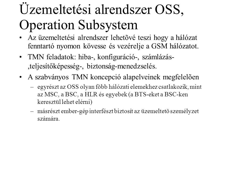 Üzemeltetési alrendszer OSS, Operation Subsystem •Az üzemeltetési alrendszer lehetõvé teszi hogy a hálózat fenntartó nyomon kövesse és vezérelje a GSM hálózatot.