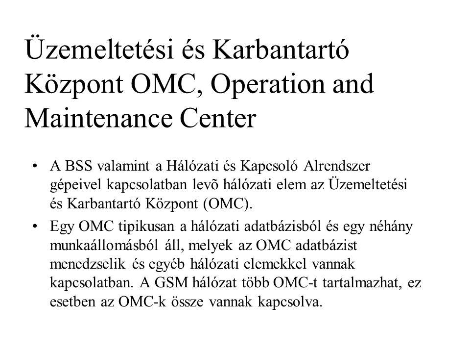 Üzemeltetési és Karbantartó Központ OMC, Operation and Maintenance Center •A BSS valamint a Hálózati és Kapcsoló Alrendszer gépeivel kapcsolatban levõ hálózati elem az Üzemeltetési és Karbantartó Központ (OMC).