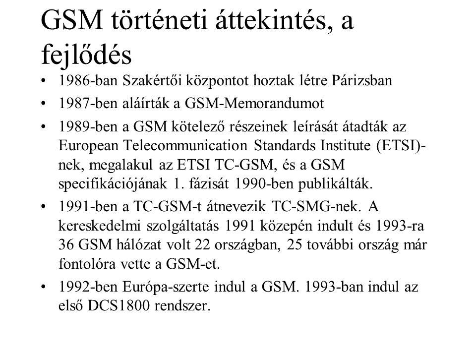 GSM történeti áttekintés, a fejlődés •1986-ban Szakértői központot hoztak létre Párizsban •1987-ben aláírták a GSM-Memorandumot •1989-ben a GSM kötelező részeinek leírását átadták az European Telecommunication Standards Institute (ETSI)- nek, megalakul az ETSI TC-GSM, és a GSM specifikációjának 1.