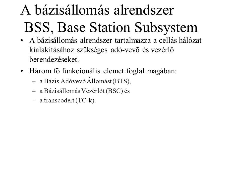 A bázisállomás alrendszer BSS, Base Station Subsystem •A bázisállomás alrendszer tartalmazza a cellás hálózat kialakításához szükséges adó-vevõ és vez