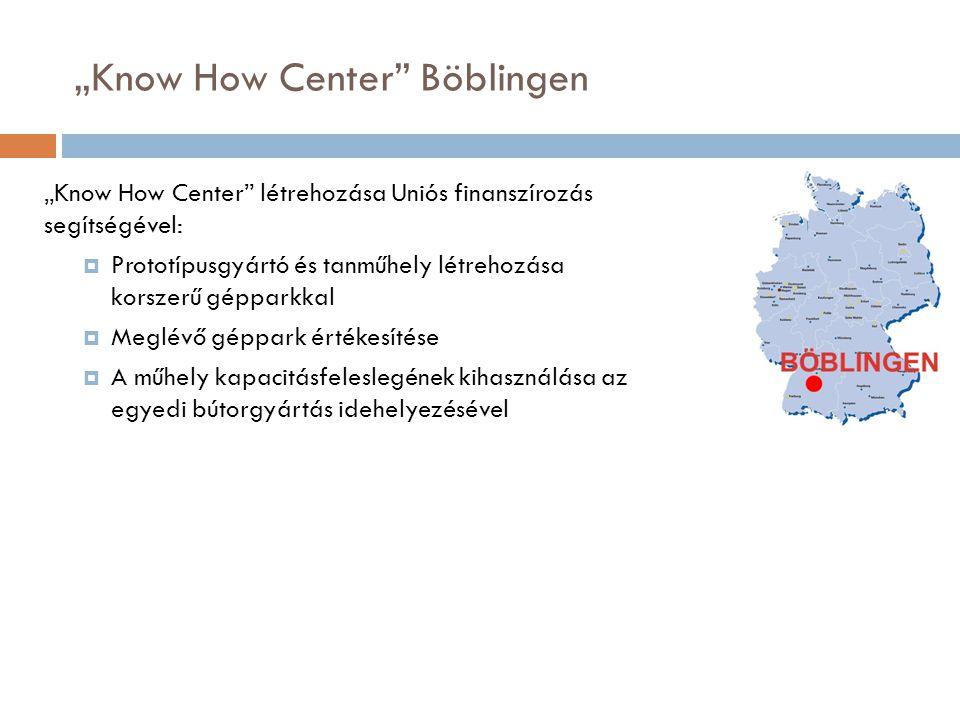 """""""Know How Center Böblingen """"Know How Center létrehozása Uniós finanszírozás segítségével:  Prototípusgyártó és tanműhely létrehozása korszerű gépparkkal  Meglévő géppark értékesítése  A műhely kapacitásfeleslegének kihasználása az egyedi bútorgyártás idehelyezésével"""