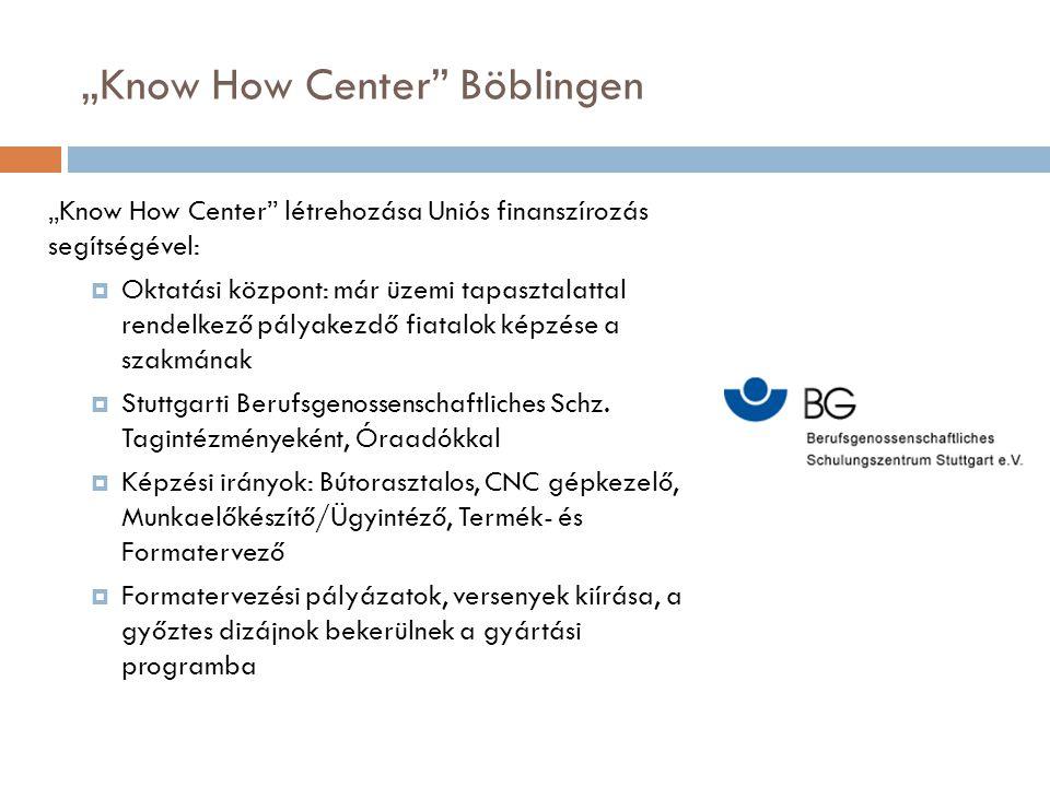 """""""Know How Center"""" Böblingen """"Know How Center"""" létrehozása Uniós finanszírozás segítségével:  Oktatási központ: már üzemi tapasztalattal rendelkező pá"""