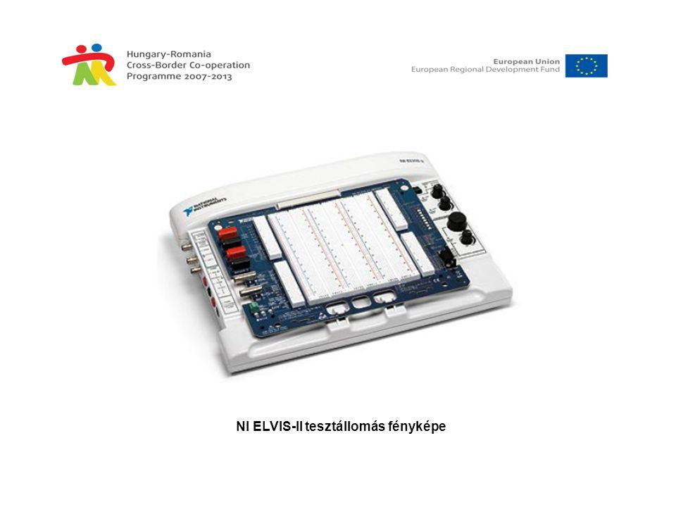 Az NI ELVISmx indító menüje • DMM, digitális multiméter •Scope, oszcilloszkóp •FGEN, függvénygenerátor •VPS, tápegység •Bode, Bode analizátor •DSA, dinamikus (spektrum) jelanalizátor •ARB, jelforma generátor •DigIn, digitális bemenetek olvasása •DigOut, digitális kimenetek írása •Imped, impedanciamérő műszer •2-Wire, kétvezetékes feszültség analizátor (xy karakterisztika) •3-Wire, háromvezetékes feszültség analizátor (xy kar., z állandó)
