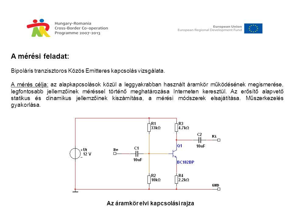 A mérési feladat: Bipoláris tranzisztoros Közös Emitteres kapcsolás vizsgálata. A mérés célja: az alapkapcsolások közül a leggyakrabban használt áramk
