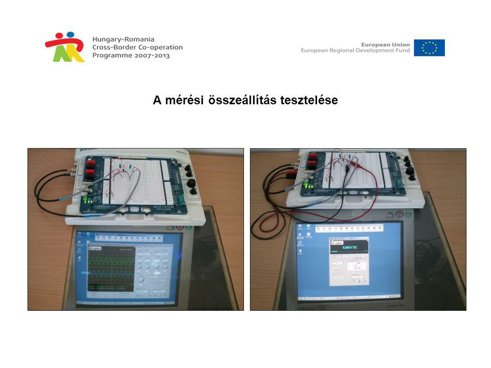 A mérési feladatok •Egyenáramú munkaponti adatok mérése és számítása •Kivezérelhetőség mérése •Feszültségerősítés meghatározása számítás útján •Feszültségerősítés meghatározása méréssel •Fázisforgatás meghatározása •Az erősítő sávszélességének meghatározása •Mérési jegyzőkönyv készítése •A méréshez szükséges eszközök: •ELVIS-II tesztállomás (mérési összeállítással) •Személyi számítógép (Windows XP) •NI ELVISmx 4.0 program •Web kamera •Hálózati hozzáférési pont •Távelérést biztosító program