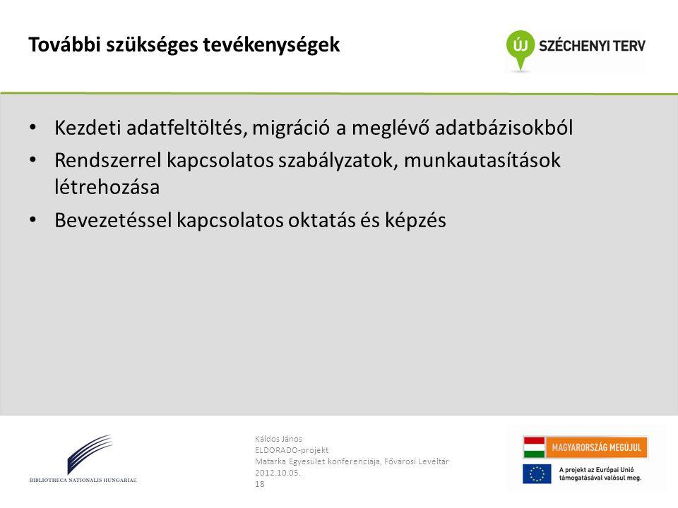 Káldos János ELDORADO-projekt Matarka Egyesület konferenciája, Fővárosi Levéltár 2012.10.05.