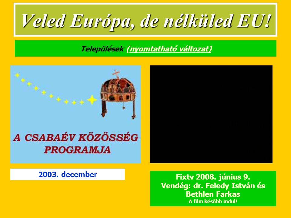Települések (nyomtatható változat)nyomtatható változat) Fixtv 2008.