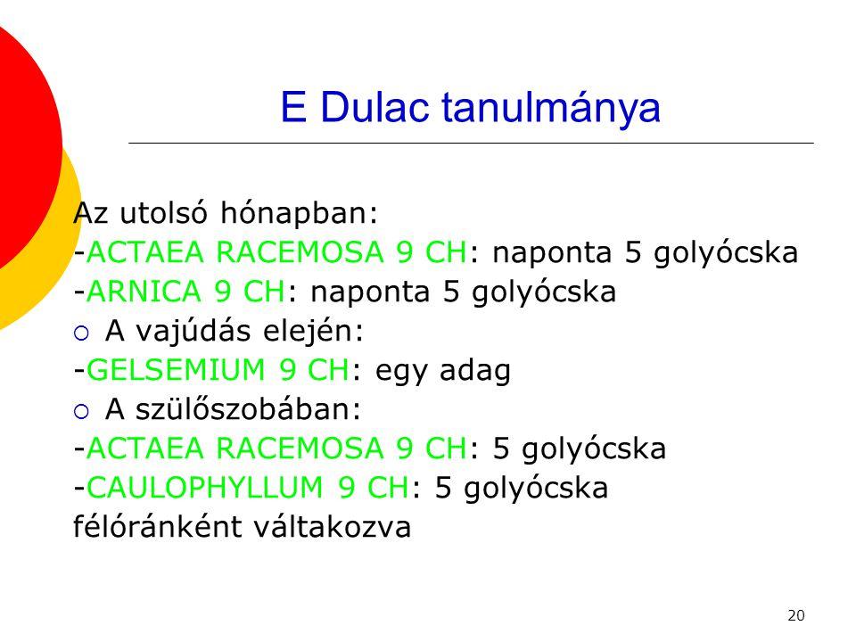 20 E Dulac tanulmánya Az utolsó hónapban: -ACTAEA RACEMOSA 9 CH: naponta 5 golyócska -ARNICA 9 CH: naponta 5 golyócska  A vajúdás elején: -GELSEMIUM