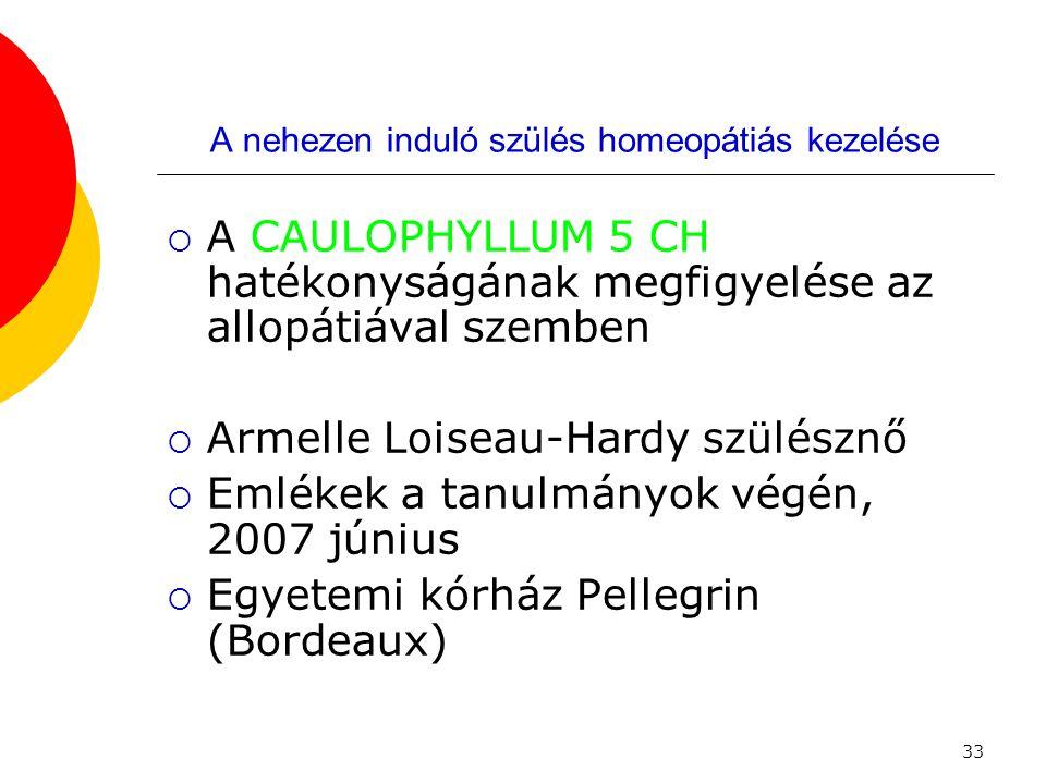 33 A nehezen induló szülés homeopátiás kezelése  A CAULOPHYLLUM 5 CH hatékonyságának megfigyelése az allopátiával szemben  Armelle Loiseau-Hardy szü