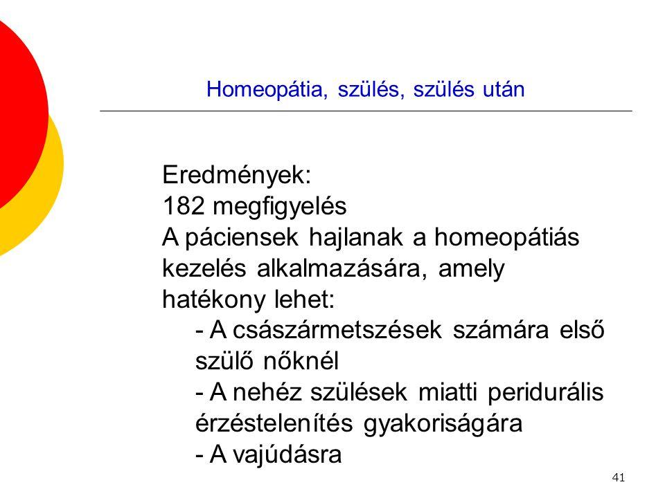 41 Homeopátia, szülés, szülés után Eredmények: 182 megfigyelés A páciensek hajlanak a homeopátiás kezelés alkalmazására, amely hatékony lehet: - A csá
