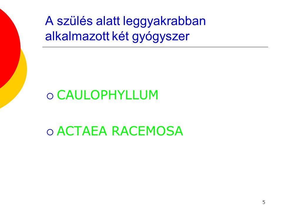 6 A szülés esetén leggyakrabban alkalmazott két gyógyszer  CAULOPHYLLUM THALICTRODIDES (5 à 9 CH)  Blue cohosh vagy squaw root  Sóskabokorféle  Javallatok:a méhnyak merevsége atóniával, eredménytelen fájások
