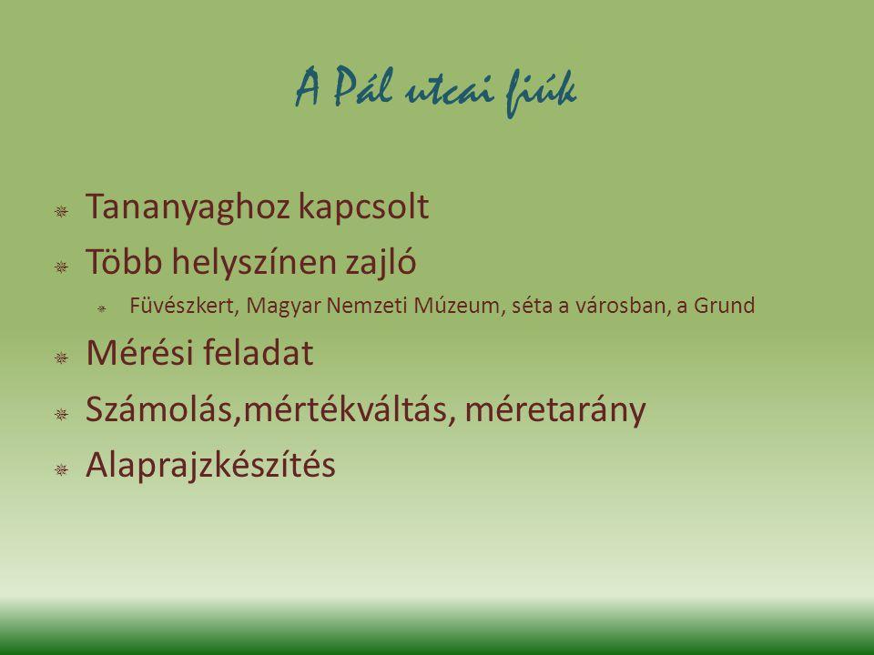 A Pál utcai fiúk  Tananyaghoz kapcsolt  Több helyszínen zajló  Füvészkert, Magyar Nemzeti Múzeum, séta a városban, a Grund  Mérési feladat  Számo
