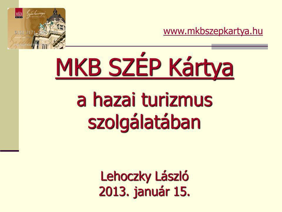 Lehoczky László 2013. január 15. MKB SZÉP Kártya a hazai turizmus szolgálatában www.mkbszepkartya.hu