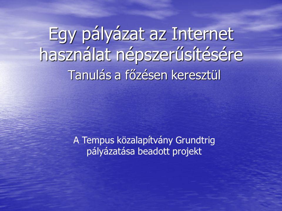 Egy pályázat az Internet használat népszerűsítésére Tanulás a főzésen keresztül A Tempus közalapítvány Grundtrig pályázatása beadott projekt