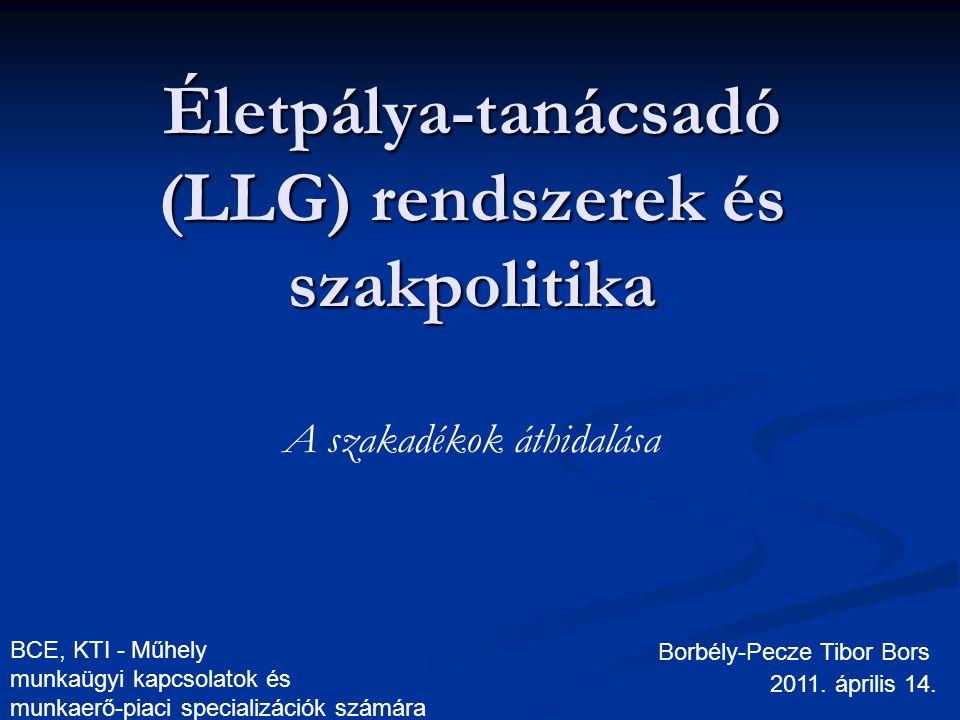 Életpálya-tanácsadó (LLG) rendszerek és szakpolitika A szakadékok áthidalása Borbély-Pecze Tibor Bors 2011. április 14. BCE, KTI - Műhely munkaügyi ka