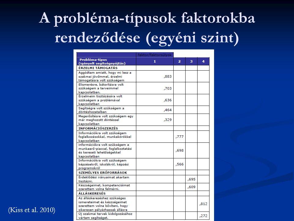 A probléma-típusok faktorokba rendeződése (egyéni szint) (Kiss et al. 2010)
