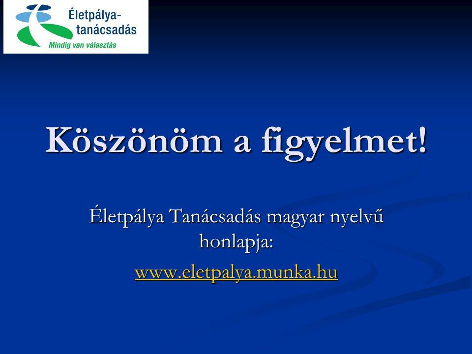 Köszönöm a figyelmet! Életpálya Tanácsadás magyar nyelvű honlapja: www.eletpalya.munka.hu