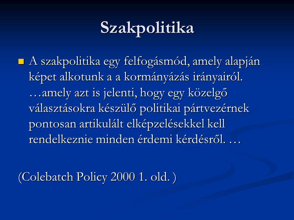 Szakpolitika  A szakpolitika egy felfogásmód, amely alapján képet alkotunk a a kormányázás irányairól. …amely azt is jelenti, hogy egy közelgő válasz