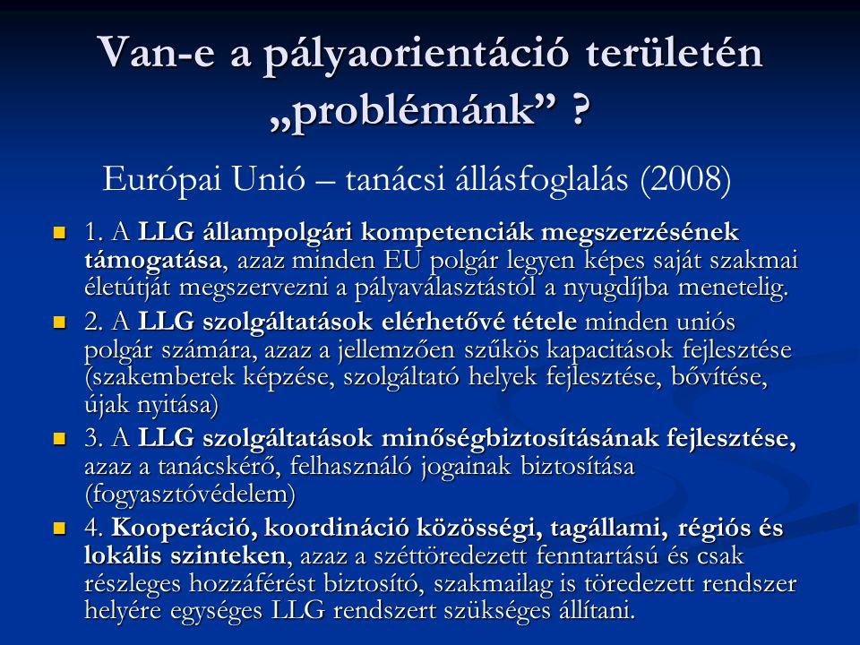 """Van-e a pályaorientáció területén """"problémánk"""" ?  1. A LLG állampolgári kompetenciák megszerzésének támogatása, azaz minden EU polgár legyen képes sa"""