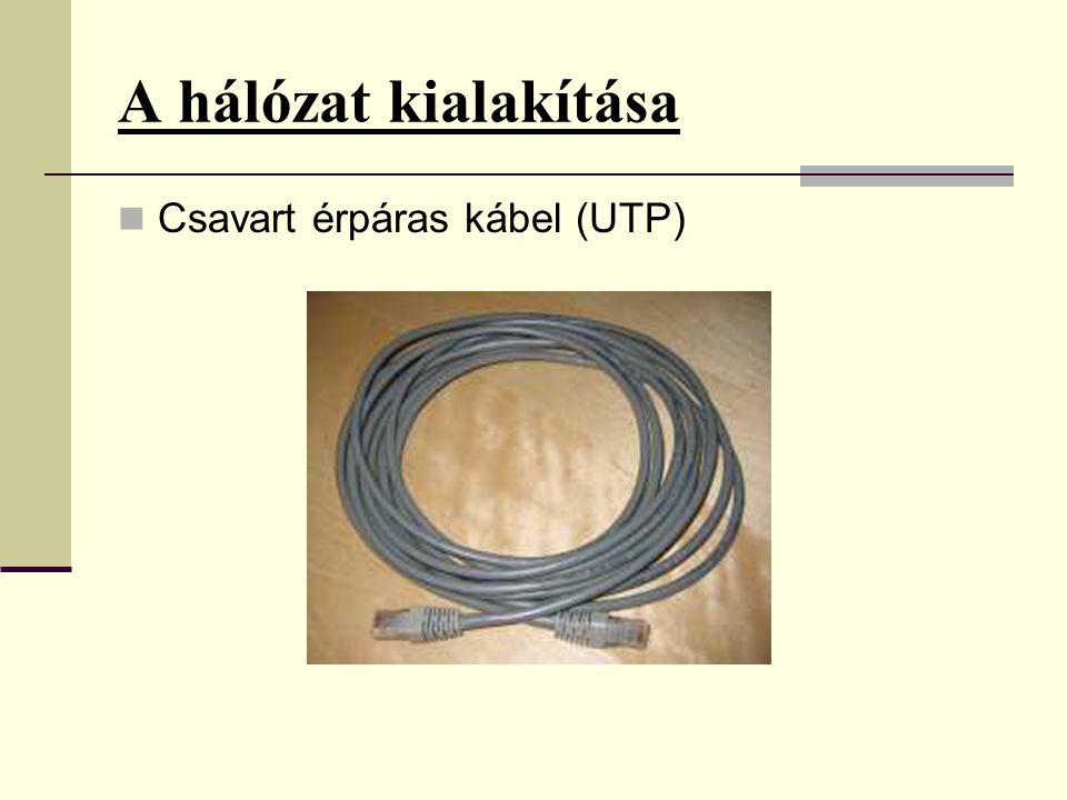 A hálózat kialakítása  Csavart érpáras kábel (UTP)