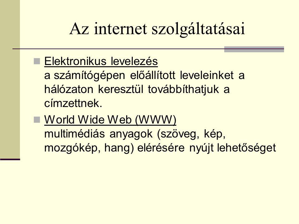 Az internet szolgáltatásai  Elektronikus levelezés a számítógépen előállított leveleinket a hálózaton keresztül továbbíthatjuk a címzettnek.  World