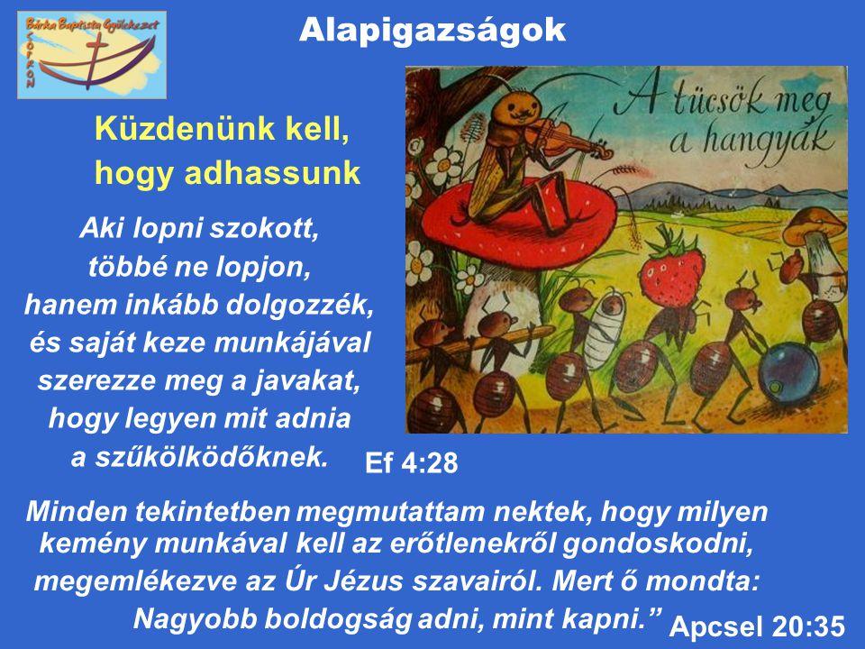 Alapigazságok Küzdenünk kell, hogy adhassunk Apcsel 20:35 Minden tekintetben megmutattam nektek, hogy milyen kemény munkával kell az erőtlenekről gond
