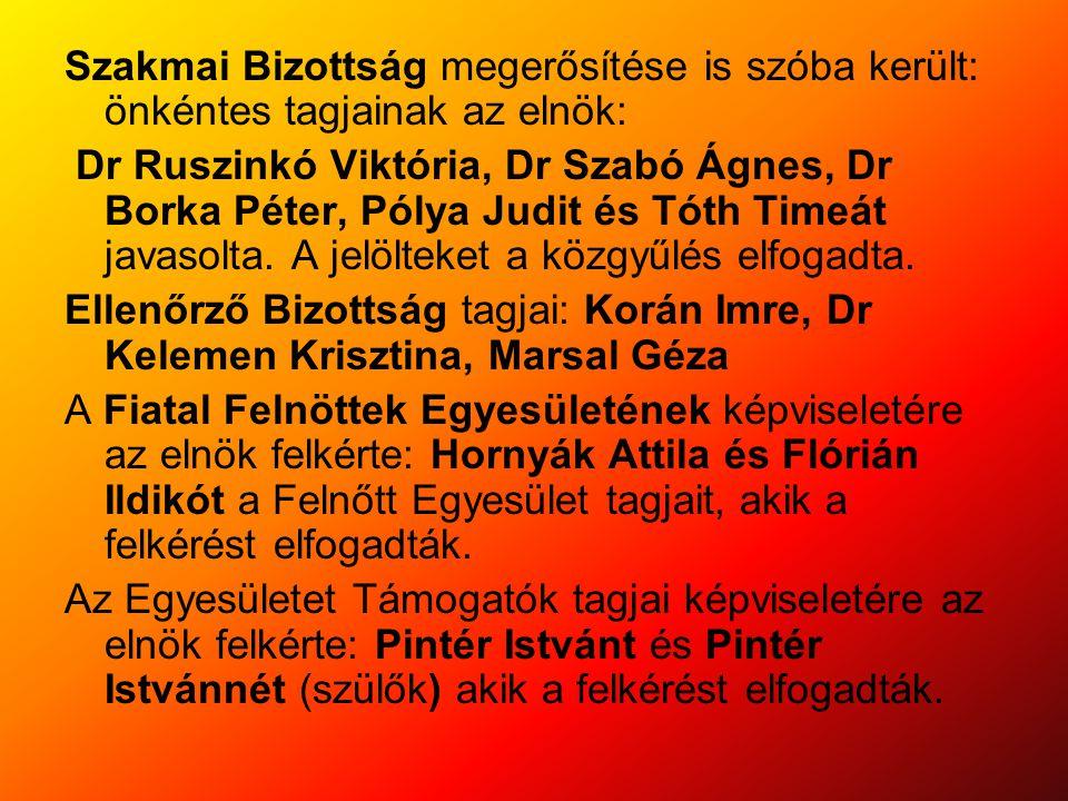 Szakmai Bizottság megerősítése is szóba került: önkéntes tagjainak az elnök: Dr Ruszinkó Viktória, Dr Szabó Ágnes, Dr Borka Péter, Pólya Judit és Tóth