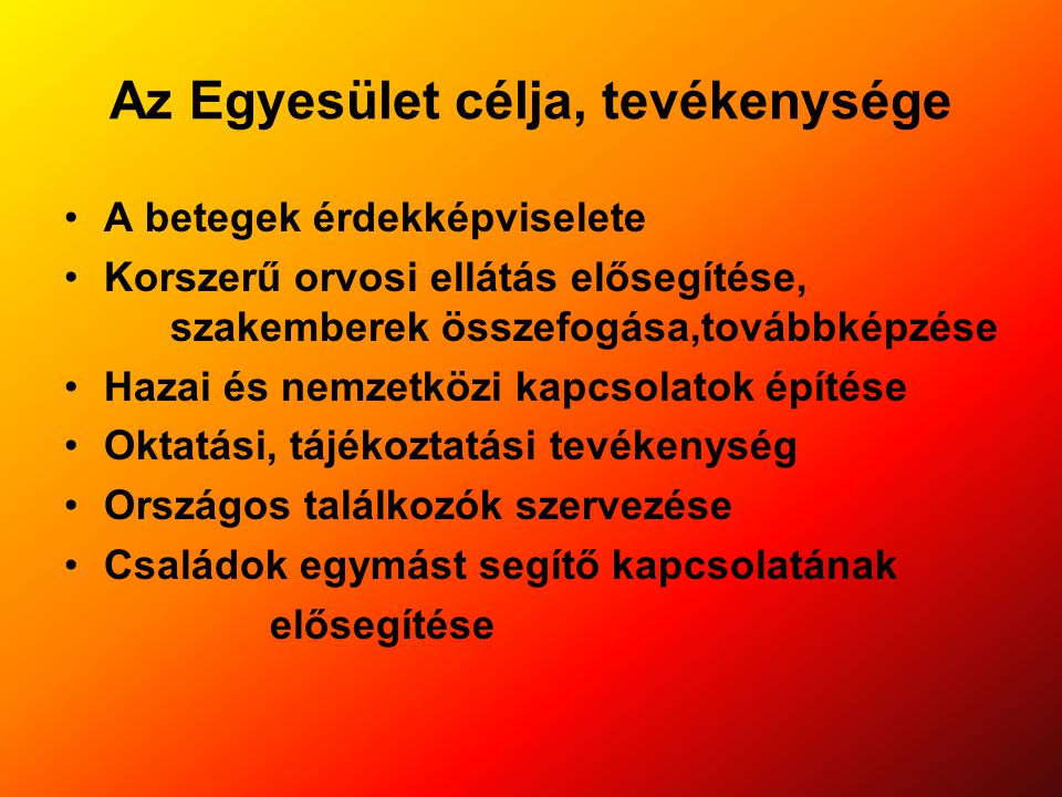 1/2010.május 08 számú határozat: A közgyűlés egyhangú határozata alapján a mai naptól 5 évre szólóan az egyesület Országos Választmányának tagjai: Elnök.: Dr Holics Klára Tiszteletbeli elnök: Prof.