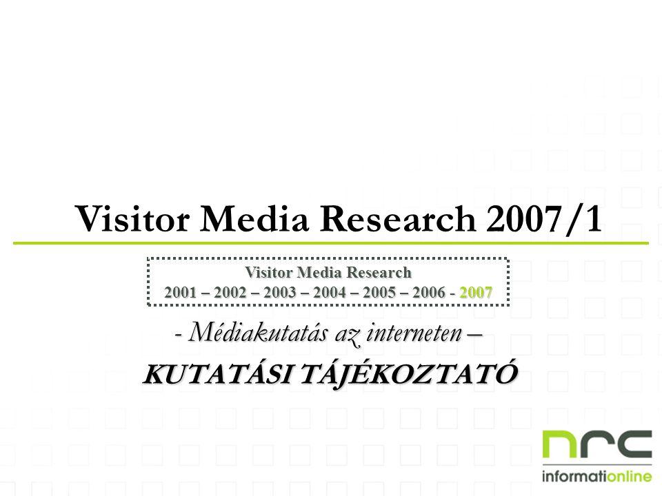 Visitor Media Research 2007/1 Visitor Media Research 2001 – 2002 – 2003 – 2004 – 2005 – 2006 - 2007 - Médiakutatás az interneten – KUTATÁSI TÁJÉKOZTAT