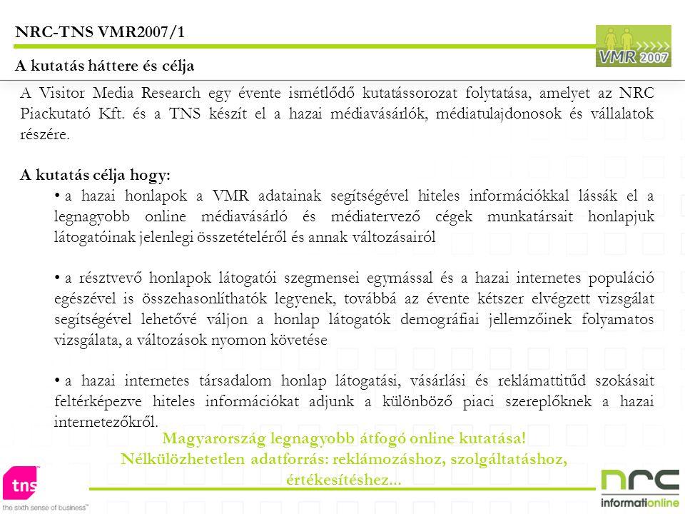 A Visitor Media Research egy évente ismétlődő kutatássorozat folytatása, amelyet az NRC Piackutató Kft. és a TNS készít el a hazai médiavásárlók, médi