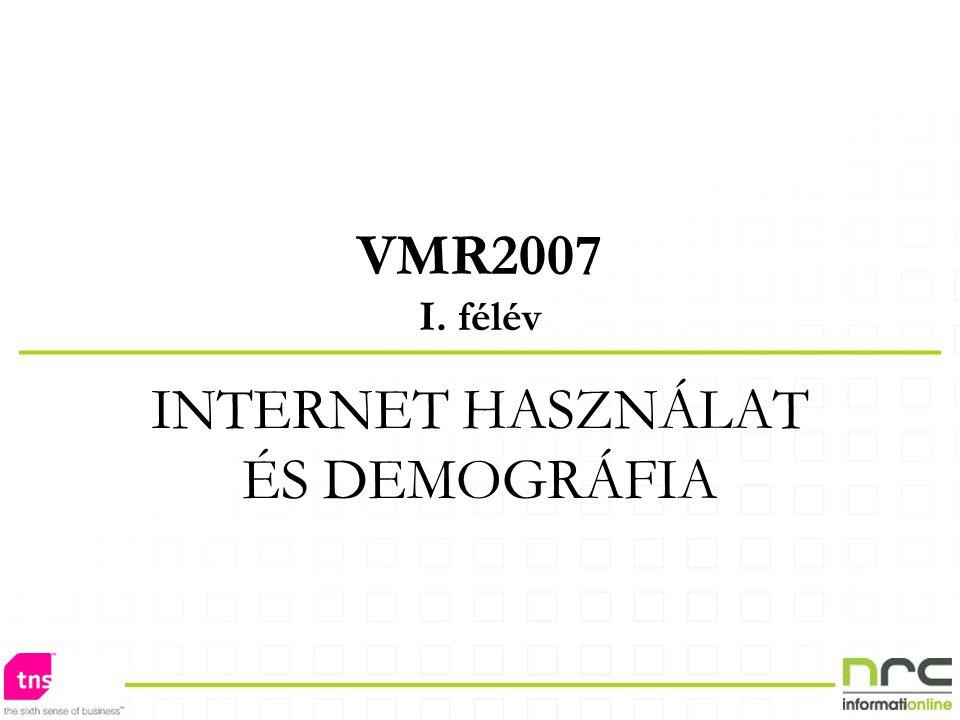 VMR2007 I. félév INTERNET HASZNÁLAT ÉS DEMOGRÁFIA
