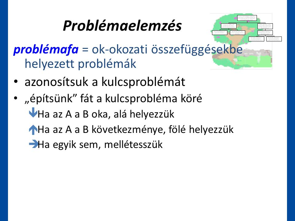 """Problémaelemzés problémafa = ok-okozati összefüggésekbe helyezett problémák • azonosítsuk a kulcsproblémát • """"építsünk"""" fát a kulcsprobléma köré  Ha"""