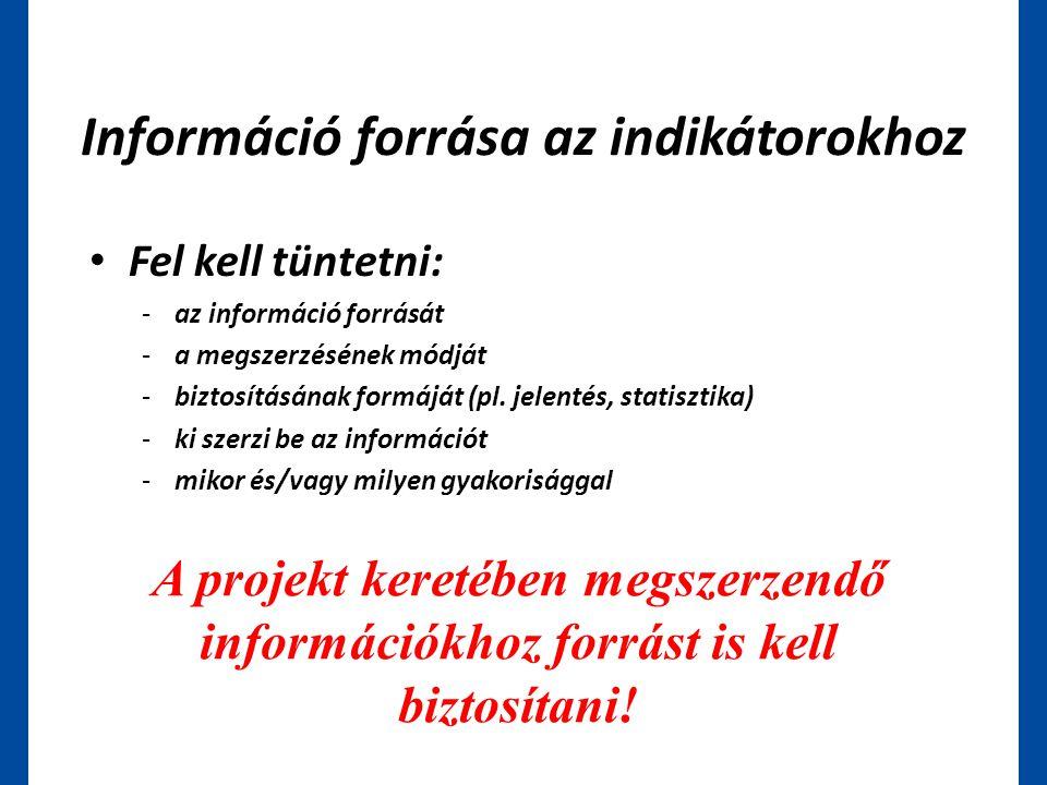 Információ forrása az indikátorokhoz • Fel kell tüntetni: -az információ forrását -a megszerzésének módját -biztosításának formáját (pl. jelentés, sta