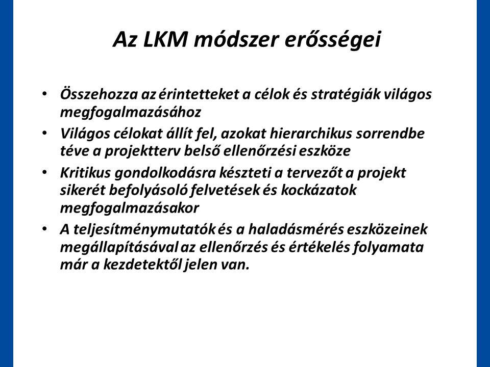 Az LKM módszer erősségei • Összehozza az érintetteket a célok és stratégiák világos megfogalmazásához • Világos célokat állít fel, azokat hierarchikus